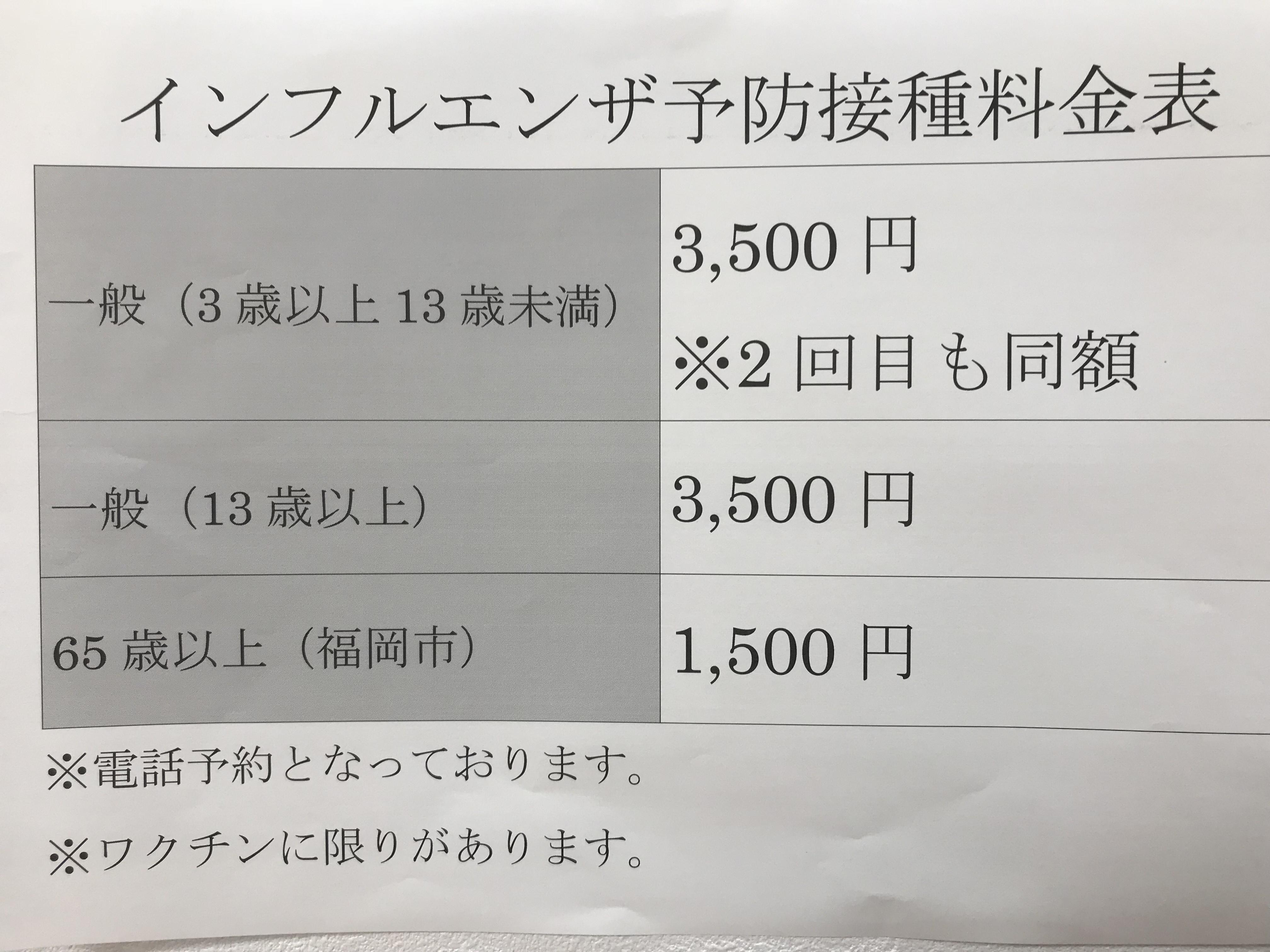 ワクチン 金額 インフルエンザ